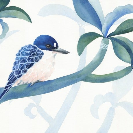 (CreativeWork) Forest Kingfisher and Foliage – Watercolour A2 by Clare McCartney. Watercolour Paint. Shop online at Bluethumb.
