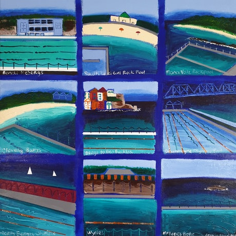 (CreativeWork) Pools of Sydney  by Jennifer Baird. Acrylic Paint. Shop online at Bluethumb.