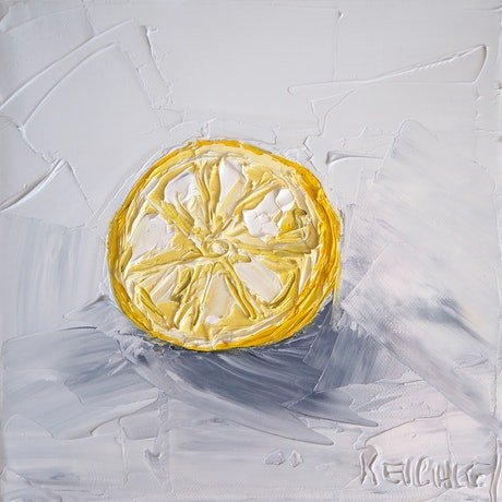 (CreativeWork) 'Lemonade Lemon' 2  by Michelle Keighley. Oil Paint. Shop online at Bluethumb.