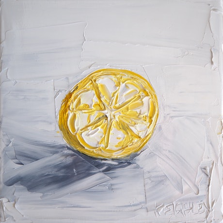 (CreativeWork) 'Lemonade Lemon' 3 by Michelle Keighley. Oil Paint. Shop online at Bluethumb.