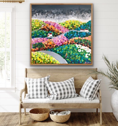 (CreativeWork) The Shepard and the storm 102x102 framed large textured abstract landscape by Sophie Lawrence. Acrylic Paint. Shop online at Bluethumb.