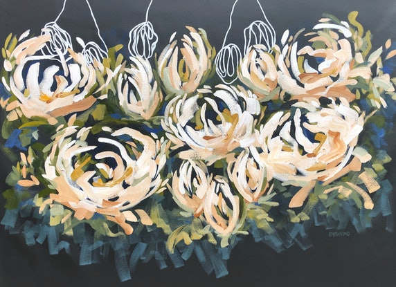 (CreativeWork) Natures Honey - Abstract Flowers by Jen Shewring. Acrylic. Shop online at Bluethumb.