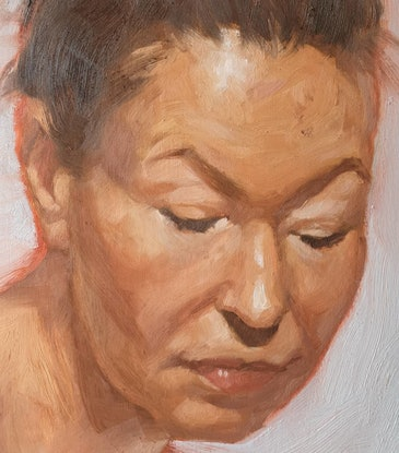 (CreativeWork) Portrait of a Woman by Jemma Cakebread. Oil Paint. Shop online at Bluethumb.