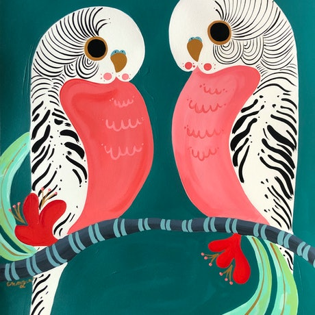 (CreativeWork) Love Birds by emma whitelaw. Acrylic Paint. Shop online at Bluethumb.