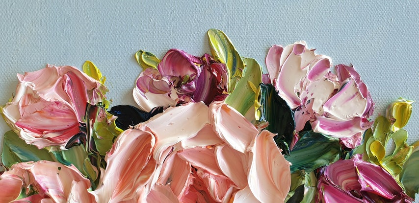 (CreativeWork) Flowers Every Day by Angela Hawkey. Oil Paint. Shop online at Bluethumb.