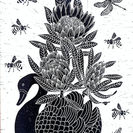 (CreativeWork) Swan planter with Proteas  Ed. 3 of 150 by Marinka Parnham. Print. Shop online at Bluethumb.