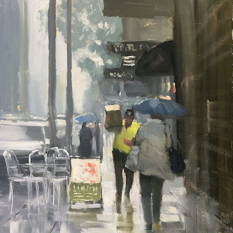 (CreativeWork) The Delivery - rainy day cityscape  by Mike Barr. Oil Paint. Shop online at Bluethumb.
