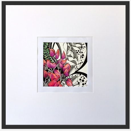 (CreativeWork) Pink Natives Circled In White by Tania Daymond. Drawings. Shop online at Bluethumb.