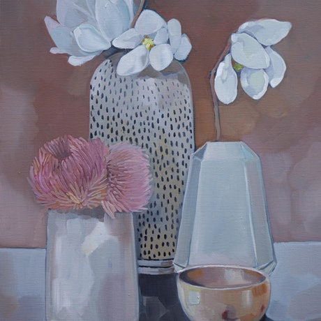 (CreativeWork) Magnolia  by Sam Suttie. Oil Paint. Shop online at Bluethumb.