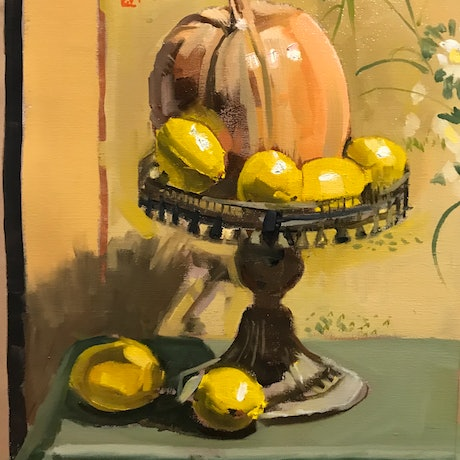 (CreativeWork) Pumpkin and Lemons by Ray Wilson. Oil Paint. Shop online at Bluethumb.