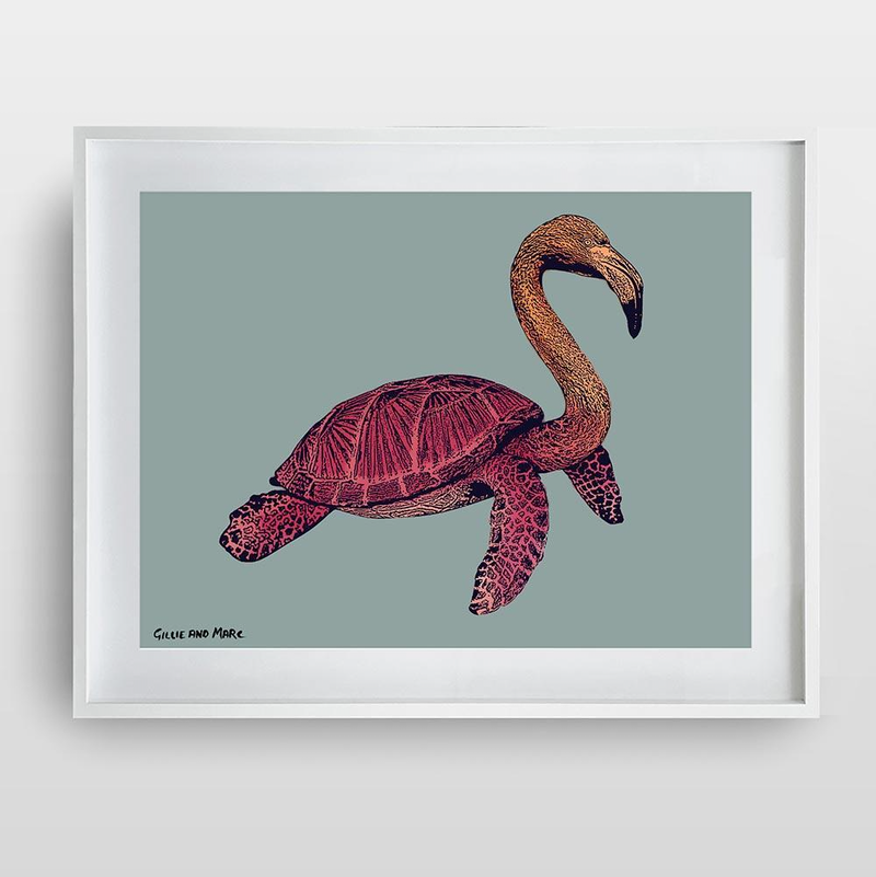 (CreativeWork) Flamurtle (Print)  by Gillie and Marc Schattner. Print. Shop online at Bluethumb.