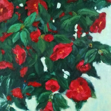 (CreativeWork) Camellia oil painting by Adela Vojnovic. Oil Paint. Shop online at Bluethumb.