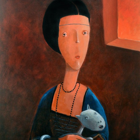 (CreativeWork) The Lady with an Ermine by Max Horst  Sokolowski. Acrylic Paint. Shop online at Bluethumb.