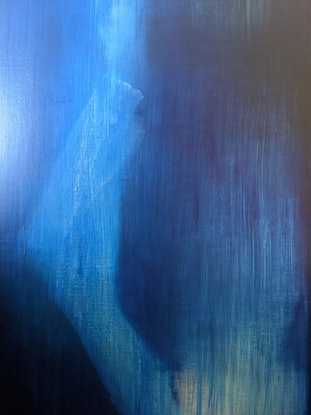 (CreativeWork) Blue Figure With Fractured Olecranon by Davide DiCenso. Acrylic Paint. Shop online at Bluethumb.