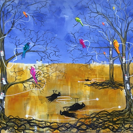 (CreativeWork) All the Pretty Birdies #Unplugged 2 by Jenny Mounfield. Acrylic Paint. Shop online at Bluethumb.