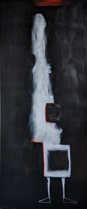 (CreativeWork) White Figure That Emerged From A Trunk by Davide DiCenso. Acrylic Paint. Shop online at Bluethumb.