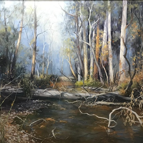 (CreativeWork) Watts River, Healesville by Di King. Oil Paint. Shop online at Bluethumb.