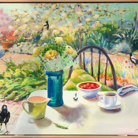 (CreativeWork) Breakfast with Magpies by kirsty mcintyre. Oil Paint. Shop online at Bluethumb.
