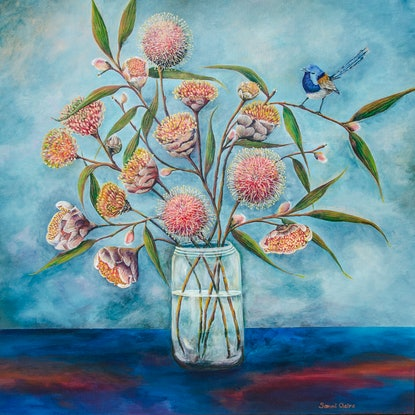 (CreativeWork) Pincushions of the Southwest - Australian Wildflowers and Fairy-wren.  LIMITED EDITION PRINT Ed. 1 of 100 by Samantha Kinkella. Print. Shop online at Bluethumb.