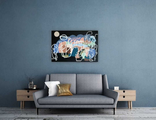 (CreativeWork) Night out by Amy Kim. Acrylic Paint. Shop online at Bluethumb.