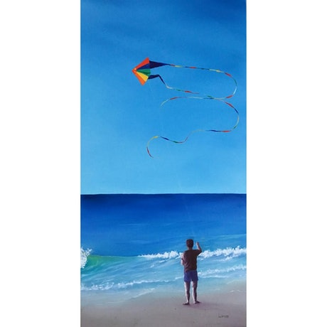 (CreativeWork) Let's Go Fly A Kite by Leoni Hines. Oil Paint. Shop online at Bluethumb.