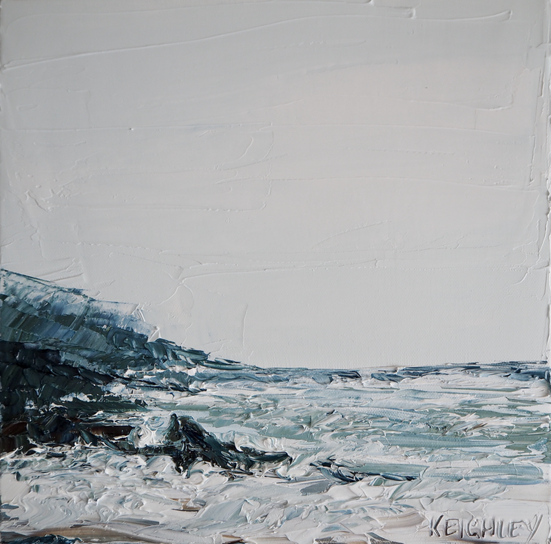 (CreativeWork) 'Hills Beach' Framed seascape  by Michelle Keighley. Oil Paint. Shop online at Bluethumb.