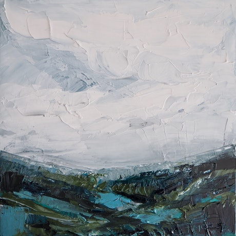 (CreativeWork) 'Remembering You' Framed Abstract Landscape by Michelle Keighley. Oil Paint. Shop online at Bluethumb.