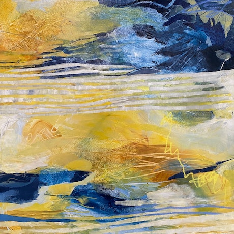(CreativeWork) Cool Yellow by Bronwyn Barton. Acrylic Paint. Shop online at Bluethumb.