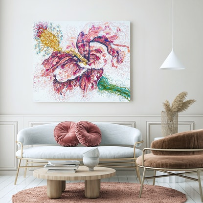 (CreativeWork) Henrietta Hibiscus by Tina Dinte. Acrylic Paint. Shop online at Bluethumb.