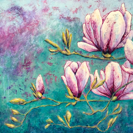 (CreativeWork) Amongst the Magnolias  by Kylee Rees. Acrylic Paint. Shop online at Bluethumb.