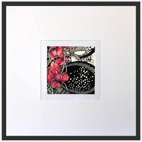 (CreativeWork) Pink Natives Circled In Black by Tania Daymond. Drawings. Shop online at Bluethumb.
