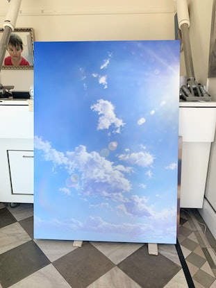 (CreativeWork) Flaring Sun With Cloud by David Tracey. Acrylic. Shop online at Bluethumb.