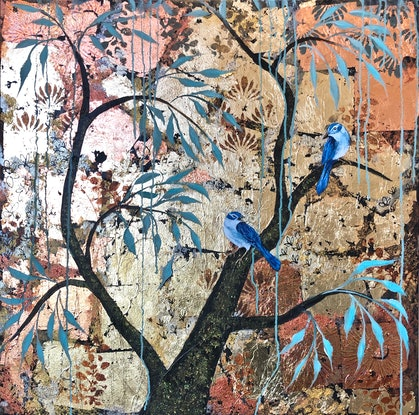 (CreativeWork) Gold and Blue Birds. (In the style Of SEKKA) by Marion Rispin. Mixed Media. Shop online at Bluethumb.