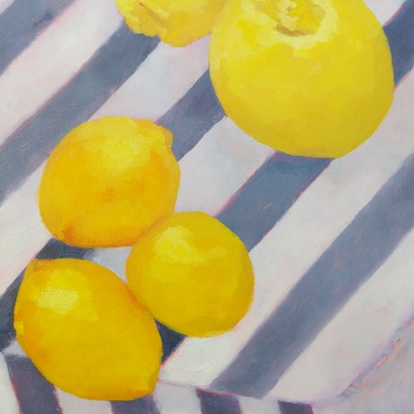 (CreativeWork) Lemons III  by Amanda Cutlack. Oil Paint. Shop online at Bluethumb.