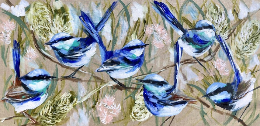 (CreativeWork) Vibrant wrens and spring banksia  Ed. 2 of 10 by Amanda Brooks. Print. Shop online at Bluethumb.