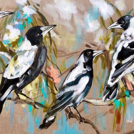 (CreativeWork) magpies and blue skies  Ed. 2 of 10 by Amanda Brooks. Print. Shop online at Bluethumb.