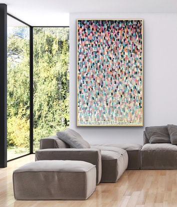(CreativeWork) Summer beach vibes tall 122x200 framed large textured abstract  by Sophie Lawrence. Acrylic Paint. Shop online at Bluethumb.