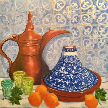 (CreativeWork) Mint Tea and Tangelos by Kerry Ann Harvey. Oil Paint. Shop online at Bluethumb.