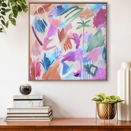 (CreativeWork) Oasis - Framed by Claire Cooper. Acrylic Paint. Shop online at Bluethumb.