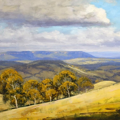 (CreativeWork) Summer landscape clouds over Blue mountains by Graham Gercken. Oil Paint. Shop online at Bluethumb.