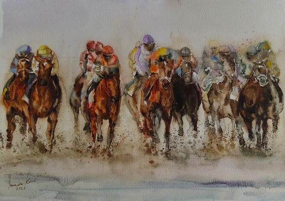 (CreativeWork) Horse racing by Sulochini Thrisharika. Watercolour Paint. Shop online at Bluethumb.
