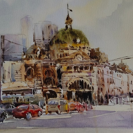 (CreativeWork) Cityscape by Sulochini Thrisharika. Watercolour Paint. Shop online at Bluethumb.