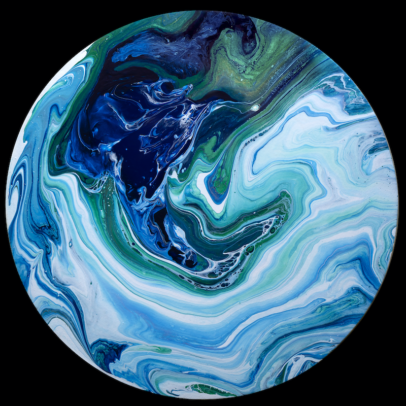 (CreativeWork) Blue Oasis by Brigitte Ackland. Acrylic Paint. Shop online at Bluethumb.