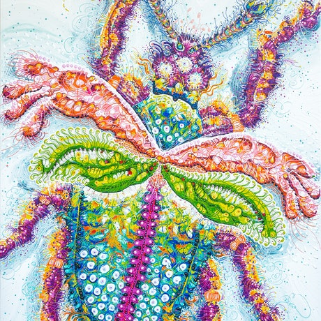 (CreativeWork) Betty Lou Beetle by Tina Dinte. Acrylic Paint. Shop online at Bluethumb.