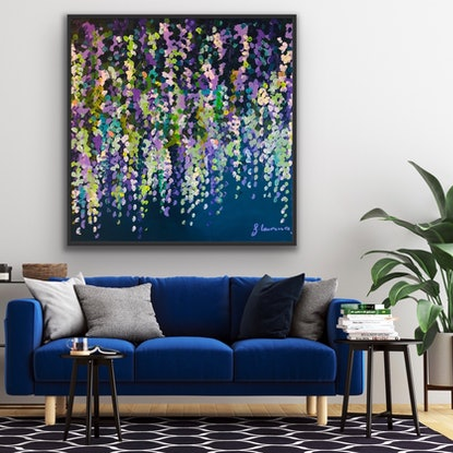 (CreativeWork) Moon lit wisteria 2 102x102 framed textured large abstract flowers by Sophie Lawrence. Acrylic Paint. Shop online at Bluethumb.
