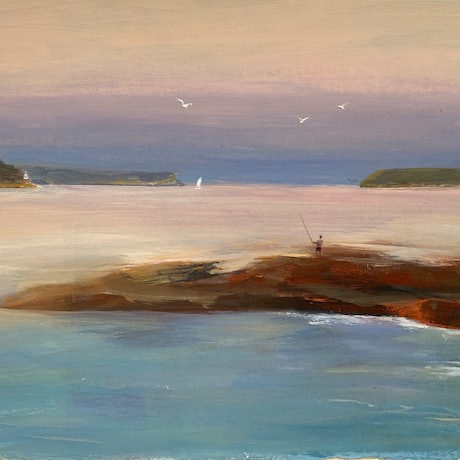(CreativeWork) Evening fishing  by Shelly Du. Acrylic Paint. Shop online at Bluethumb.