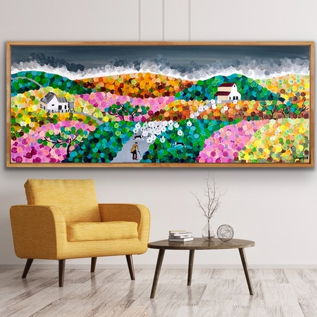 (CreativeWork) Waiting for rain  153x61 framed large textured abstract landscape by Sophie Lawrence. Acrylic Paint. Shop online at Bluethumb.