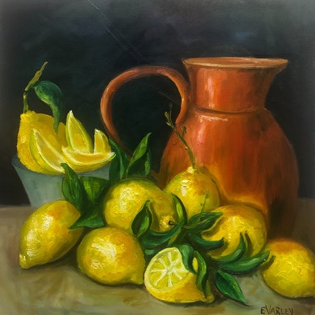 (CreativeWork) Limoncello by Elizabeth Varley. Oil Paint. Shop online at Bluethumb.