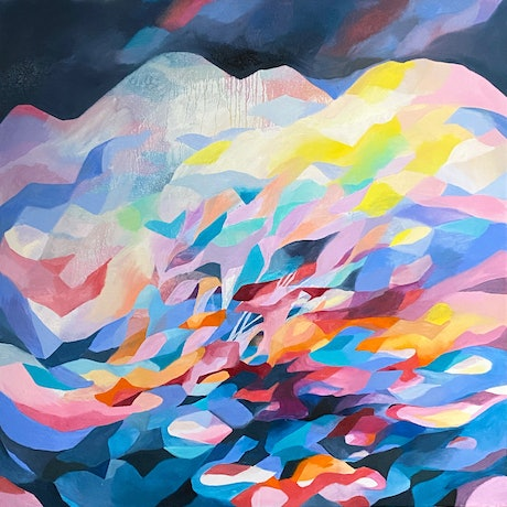 (CreativeWork) Crystal Mountain by Nicole Black. Oil Paint. Shop online at Bluethumb.