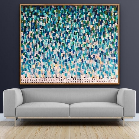 (CreativeWork) Nantucket 153x122 framed large abstract  by Sophie Lawrence. Acrylic Paint. Shop online at Bluethumb.